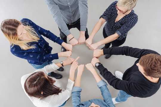Motivational team meeting with a group of people