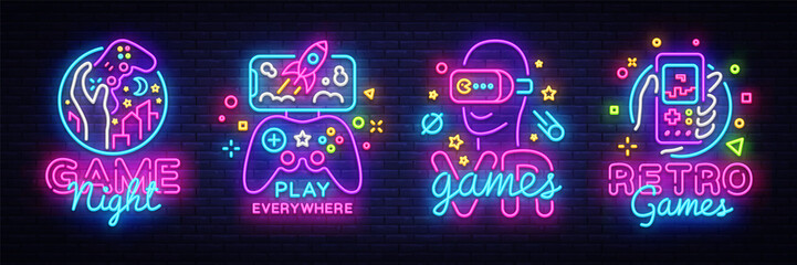 Video Games logos collection neon sign Vector design template. Conceptual Vr games, Retro Game night logo in neon style, gamepad in hand, modern trend design, light banner. Vector illustration Fototapete