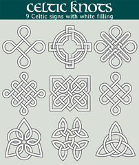 Celtic signs with fill. Set of 9 symbols made with Celtic knots for use in tattoos or designs.