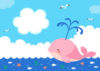 Pink whale with fountain of water on sea background