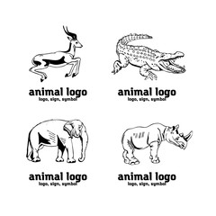 Hand-drawn pencil graphics, african animals set symbols