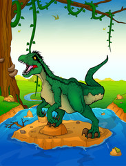 Raptor on the river background