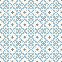 Ancient floor ceramic tiles. Flooring tiling seamless vector background. Vector illustration. Victorian English floor tiling design. Portuguese cement tiles pattern. Grey-blue and golden brown colors