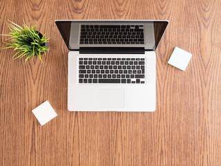Tip view of businessman desk with a laptop and a pot of grass. Flatlay  image