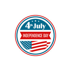 United States Independence Day icon. Badge for 4th of July. Vector illustration.