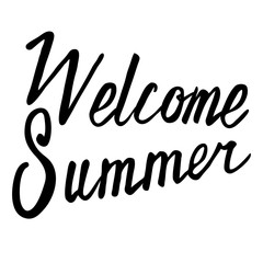 Welcome summer hand drawn brush lettering. Hand written calligraphy style.