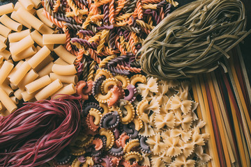 elevated view of different types of colorful pasta