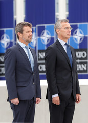 Danish Crown Prince Frederik and NATO Secretary-General Jens Stoltenberg lay a wreath at the Monument in Memory of the Fallen, at the Alliance's headquarters in Brussels