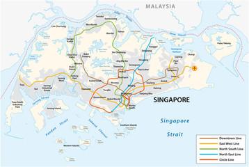 Republic of Singapore vector metro map