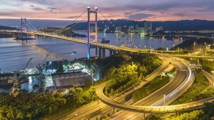 Fototapete - Tsing Ma Bridge in Hong Kong city at dusk