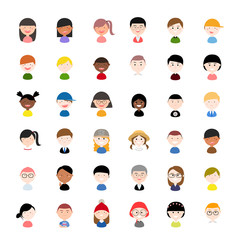 Vector Illustration / Icon Set: diverse profile / avatar icons with different nationalities, clothes and hair styles.