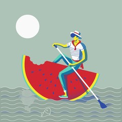 person rowing on a water melon
