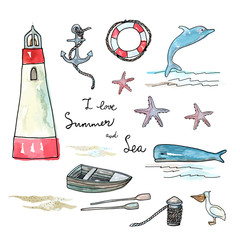 Vector illustration. Marine objects set. Pen drawing with watercolor style background.