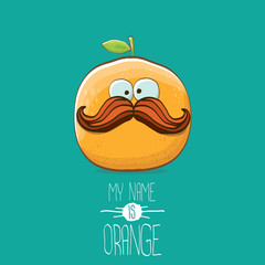 vector funny cartoon cute orange character isolated on azure background. My name is orange vector concept. super funky citrus fruit summer food character