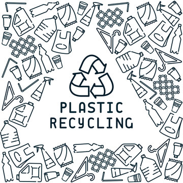 Plastic recycling card with garbage and inscription. Linear style vector illustration