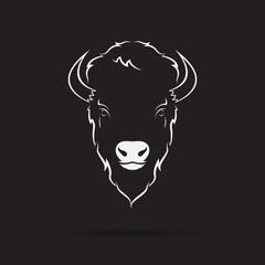 Vector of a buffalo head design on black background. Wild Animals. Vector illustration.