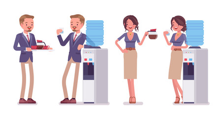 Male and female office secretary at water cooler, with coffee