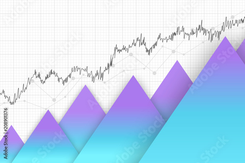 Financial Data Graph Chart Vector Illustration Trend Lines