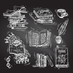 Beautiful hand drawn set of vector illustration reading the book