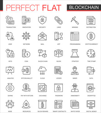 Blockchain, bitcoin cryptocurrency thin line web icons set. Outline stroke icon design.