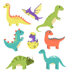 Creatures Types of Dinosaurs Vector Illustration