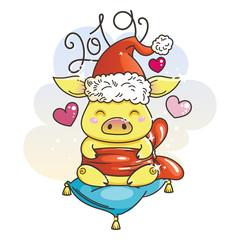 Cute cartoon pig in love. Symbol of New 2019 Year