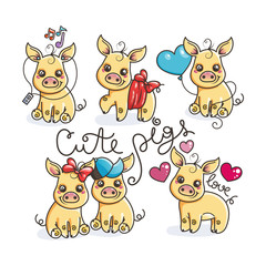Collection of cute golden cartoon pigs