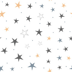 Repeated stars and round dots. Starry seamless pattern for children. Endless print.