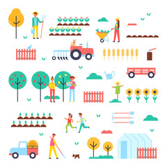 Farm Workers, Special Machines and Green Plants