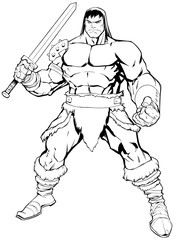 Barbarian on White / Black and white comics illustration of muscular barbarian warrior.