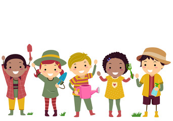 Stickman Kids Gardening Outfit Tools Illustration