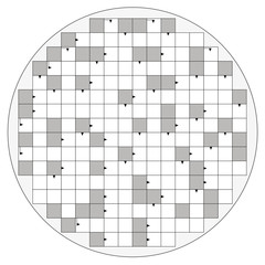 Round crossword pattern with arrows and empty boxes to insert any words for a clear message, brief heading or explicit information in keywords - circular shaped template.