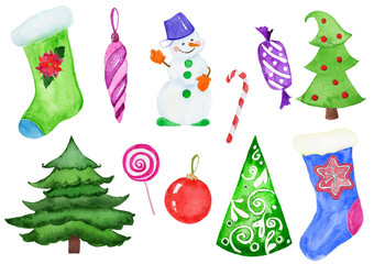 Set of watercolor Christmas decorations. Watercolor elements on a white background.