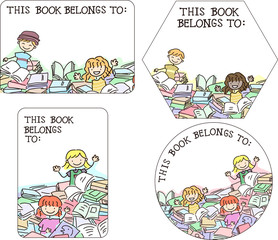 Stickman Kids Book Platelets Design Illustration