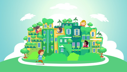 Stickman Kids Green City Illustration