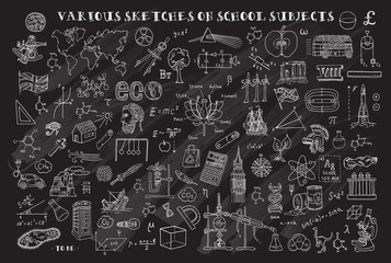 Various sketches on school subjects. Hand sketches on the theme of Maths and geometry.  Chalkboard. Vector illustration. Doodle set.