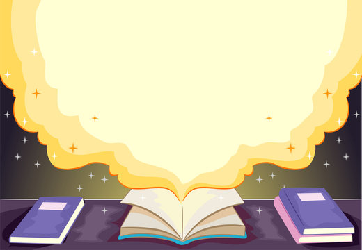 Open Book Story Time Background Illustration