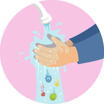 Hands Kid Wash Germs Illustration