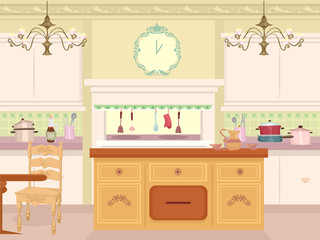 Interior Victorian Kitchen Illustration