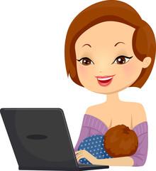Girl Breastfeed Laptop Illustration