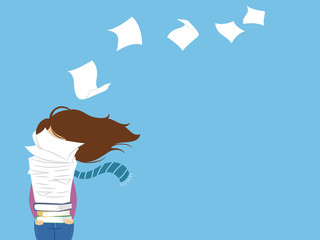 Girl Drafts Papers Fly Illustration