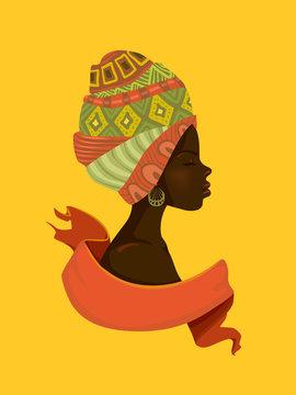 Girl Black Head Scarves Ribbon Illustration