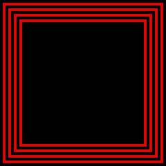 black square background red border or frame, smooth bright center texture and dark vignette edge