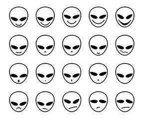 Alien, icon, different emotions, vector. The face of an alien. Meme, icon. Single-color, vector images. Black outline on white background.