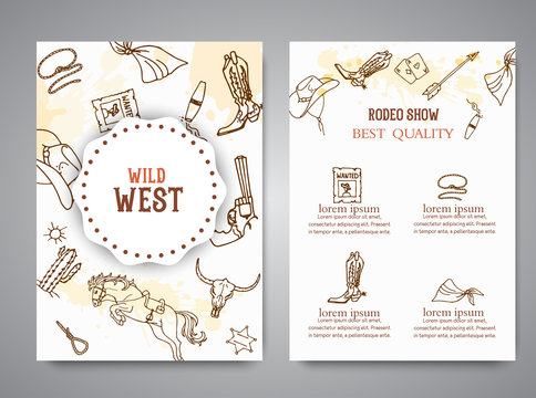 Wild West brochure. American cowboy rodeo show poster with typography Vector