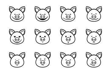 Pig, icon, different emotions, vector. Pig head with different emotions, meme, icon. Single-color, vector images. Black outline on white background.