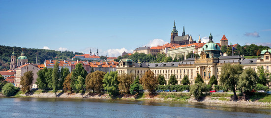 Panorama of Prague castle and the Vltava river, Czech Republic