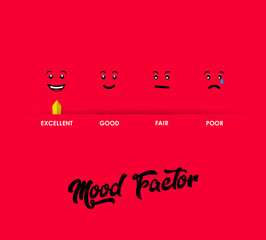 Mood factor measure illustration template with red background.
