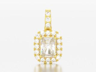 3D illustration decorative gold diamond necklace