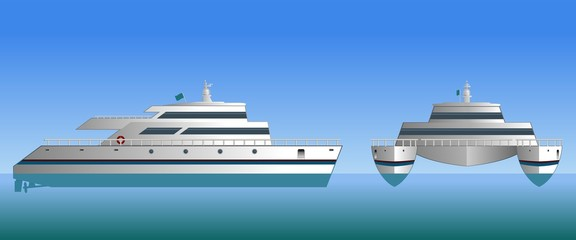 Vector illustration of a catamaran. Design of a sea ship. Sea catamaran on a blue background.